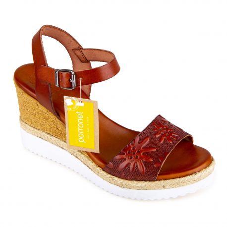 Sandales compensées marron motif fleurs Femme PORRONET marque pas cher prix dégriffés destockage