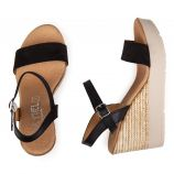 Sandale compense negro ser negro 9690 cuir Femme ISSA MIEL
