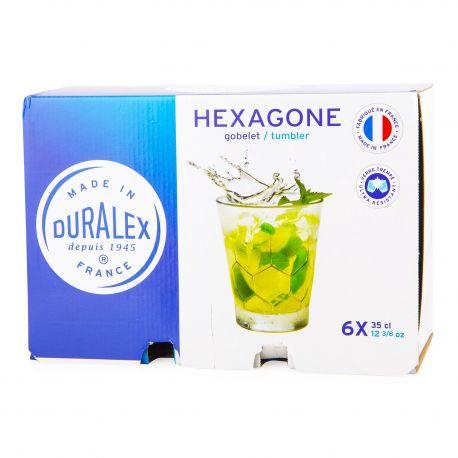 Lot de 6 verres 35cl hexagone Mixte DURALEX marque pas cher prix dégriffés destockage