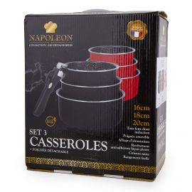 Lot 3 casseroles 16/18/20cm induction manche amovible avec couvercle Mixte NAPOLEON