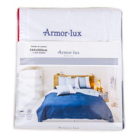 Parure housse de couette 240x220cm + 2 taies d'oreiller 65x65 cm Mixte ARMOR-LUX marque pas cher prix dégriffés destockage