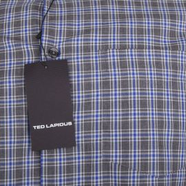 Chemise gris foncé à carreaux manches longues Homme TED LAPIDUS