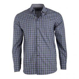 Chemise gris foncé à carreaux coupe droite manches longues Homme TED LAPIDUS marque pas cher prix dégriffés destockage
