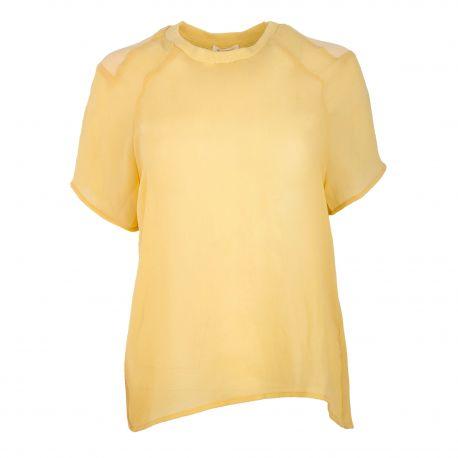 Blouse fluide jaune manches courtes loui138e14 Femme AMERICAN VINTAGE marque pas cher prix dégriffés destockage